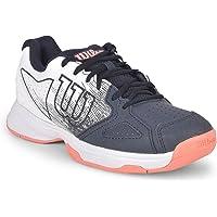 Wilson Kaos Strike kadın tenis ayakkabısı, gri/beyaz/turuncu, tüm zemin kaplamaları için, tüm oyuncu tipleri için Size: