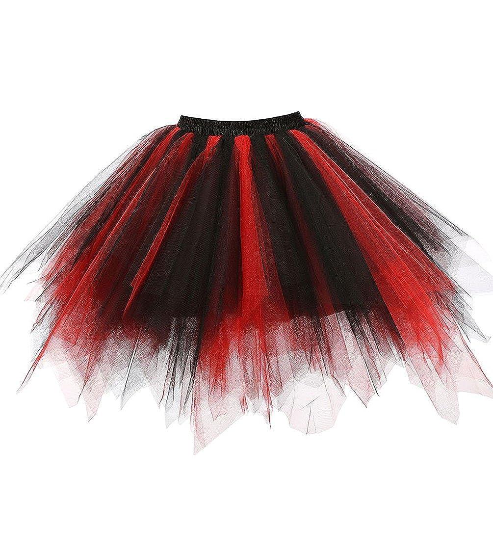 Zblackred Dresstore Women's Short Vintage Petticoat Skirt Ballet Bubble Tutu Multicolord