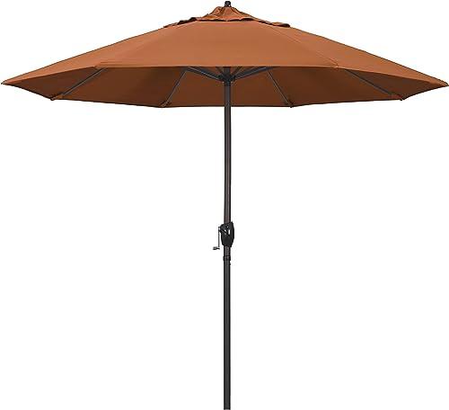 California Umbrella 9 Round Aluminum Market Umbrella, Crank Lift, Auto Tilt, Bronze Pole, Sunbrella Tuscan Fabric