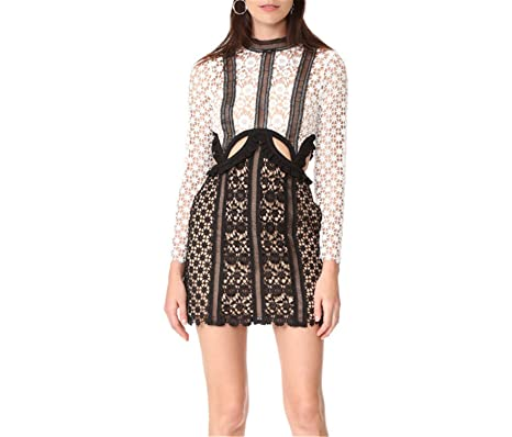 Amazon.com: Desirca Autumn Embroidery Long Sleeve Lace Patchwork Dresses Runway Self Portrait Dress Party Vestidos: Clothing