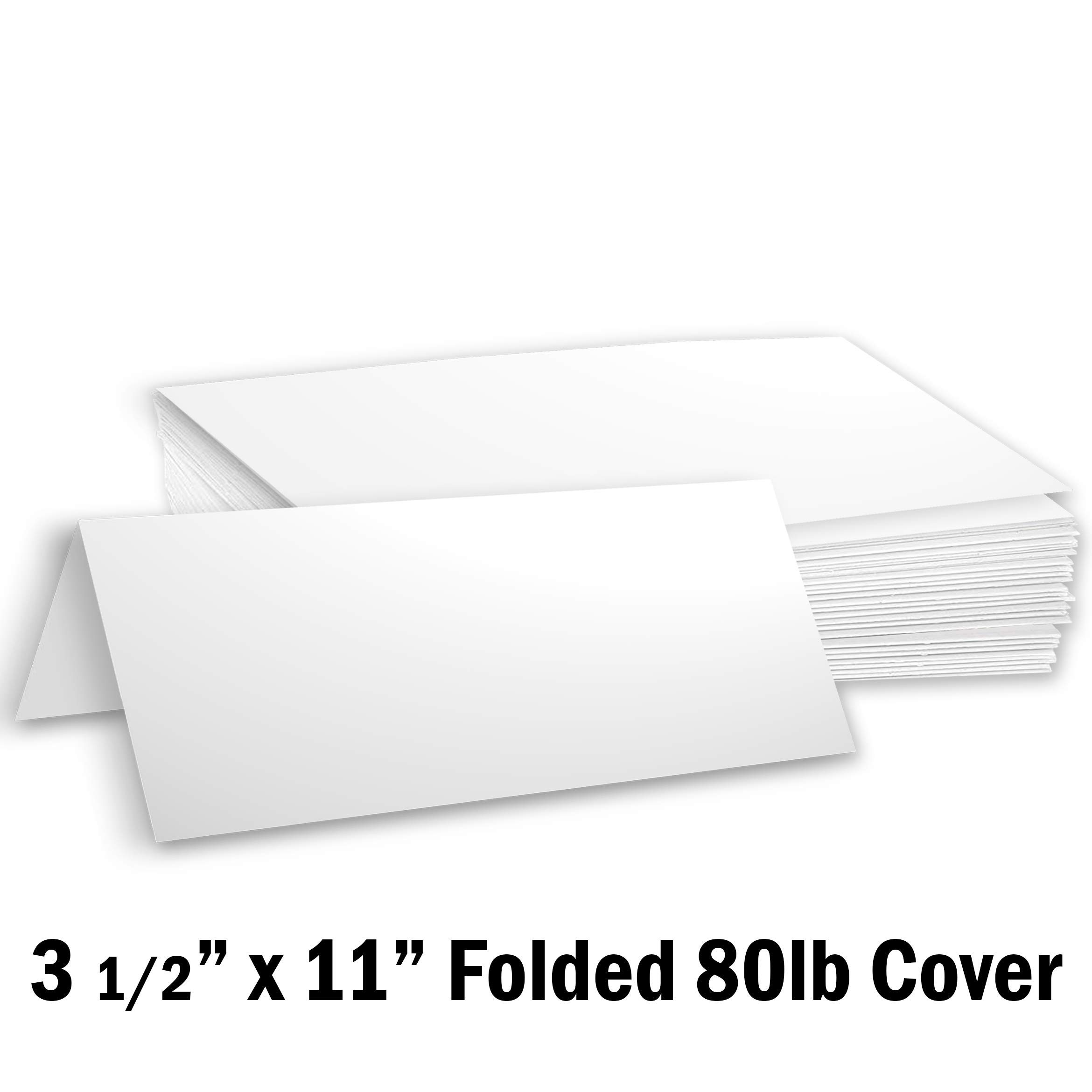Hamilco Blank Tent Name Place Table Cards 3 1/2'' x 11'' Folded Card Stock - White Cardstock Paper 80lb Cover - 100 Pack by Hamilco