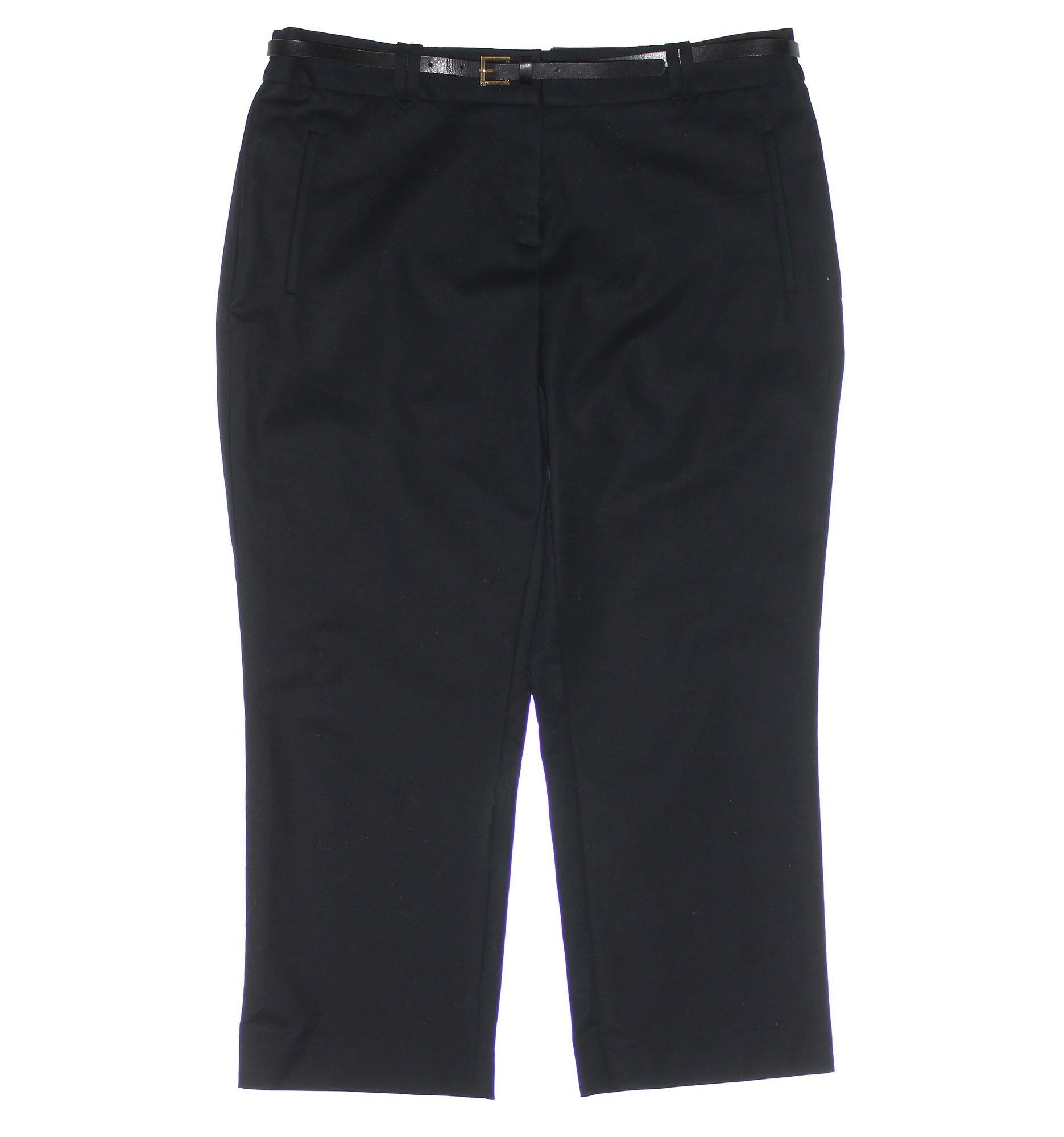 Charter Club Women's Tummy Slimming Slim Leg Belted Capri Pants 10 Black