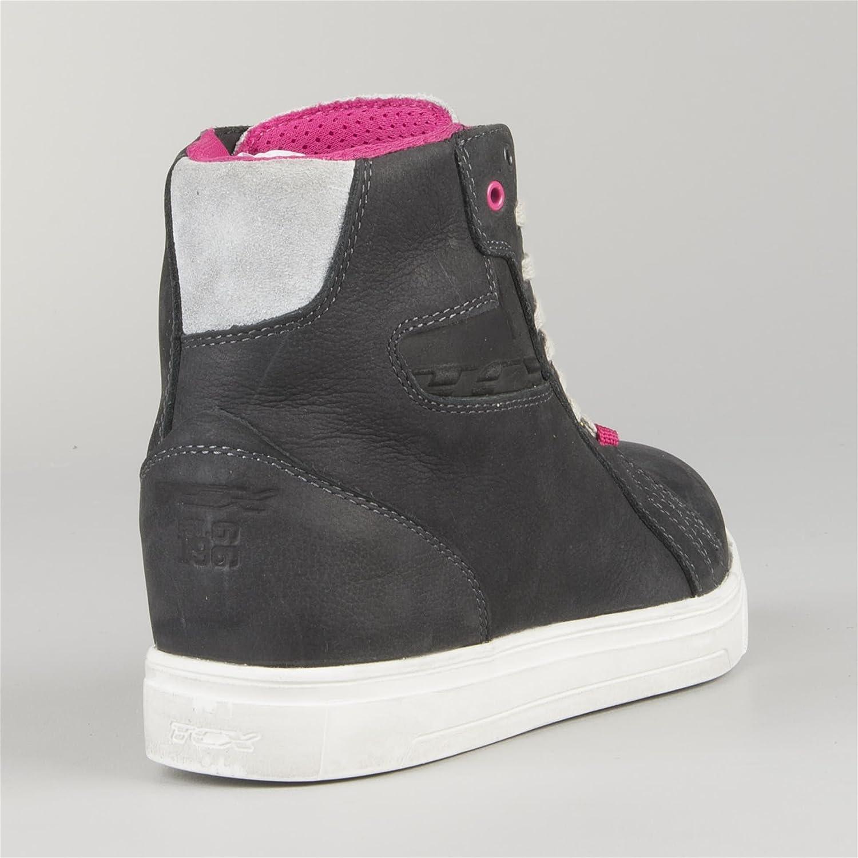 Grey//Pink TCX Street Ace Ladies Waterproof Short Urban Motorcycle Boots