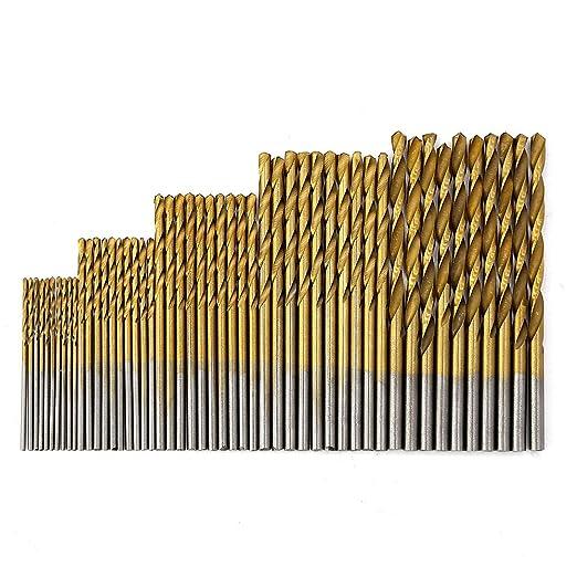 MINHER 50 PCS micro taladro conjunto 1//1.5//2//2.5//3 mm de titanio recubierto HSS brocas de metal de alta velocidad espiral brocas de taladro establece broca profesional