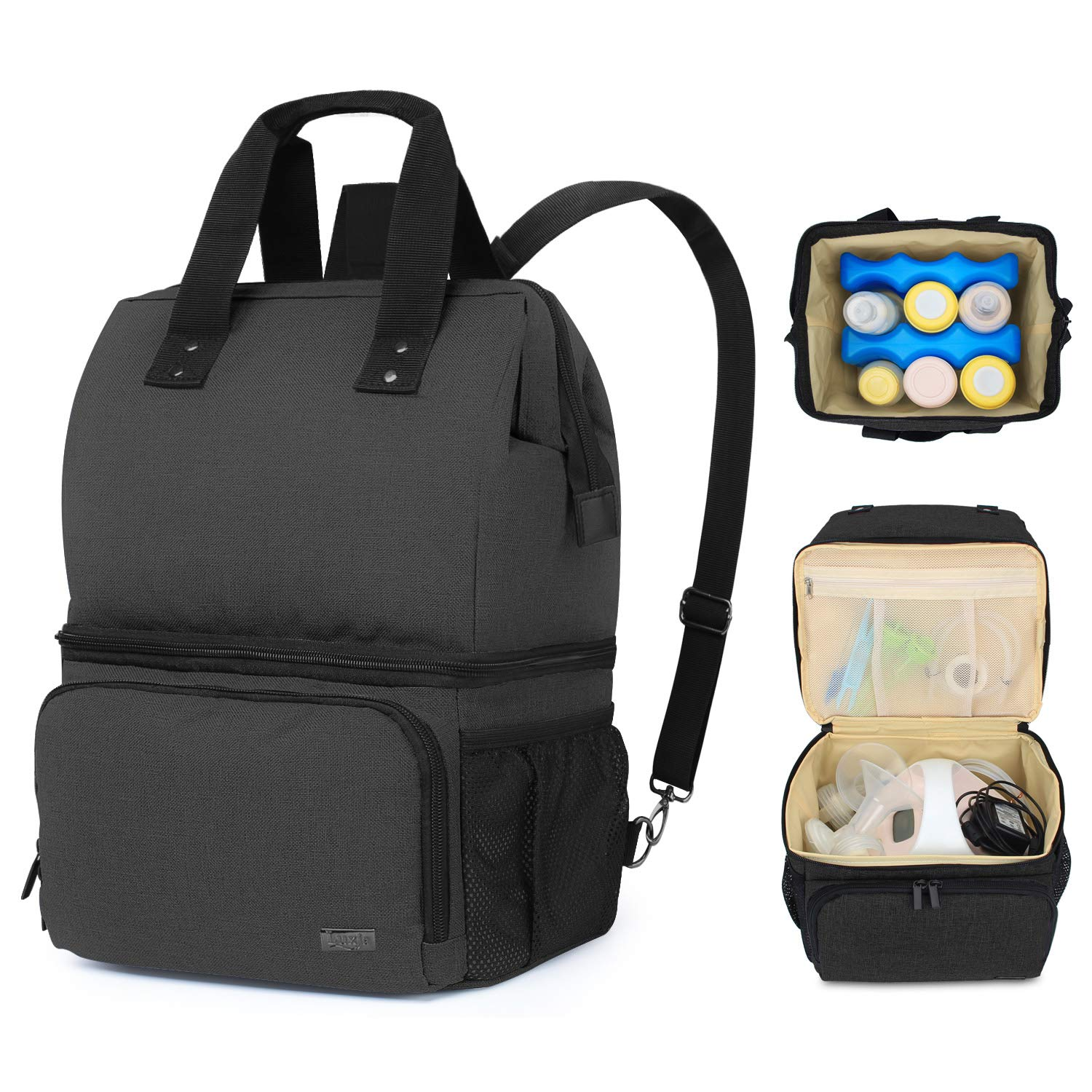 Luxja Breast Pump Bag with 2 Compartments for Breast Pump and Cooler Bag, Breast Pumping Bag with 2 Options for Wearing (Fits Most Major Breast Pump), Black