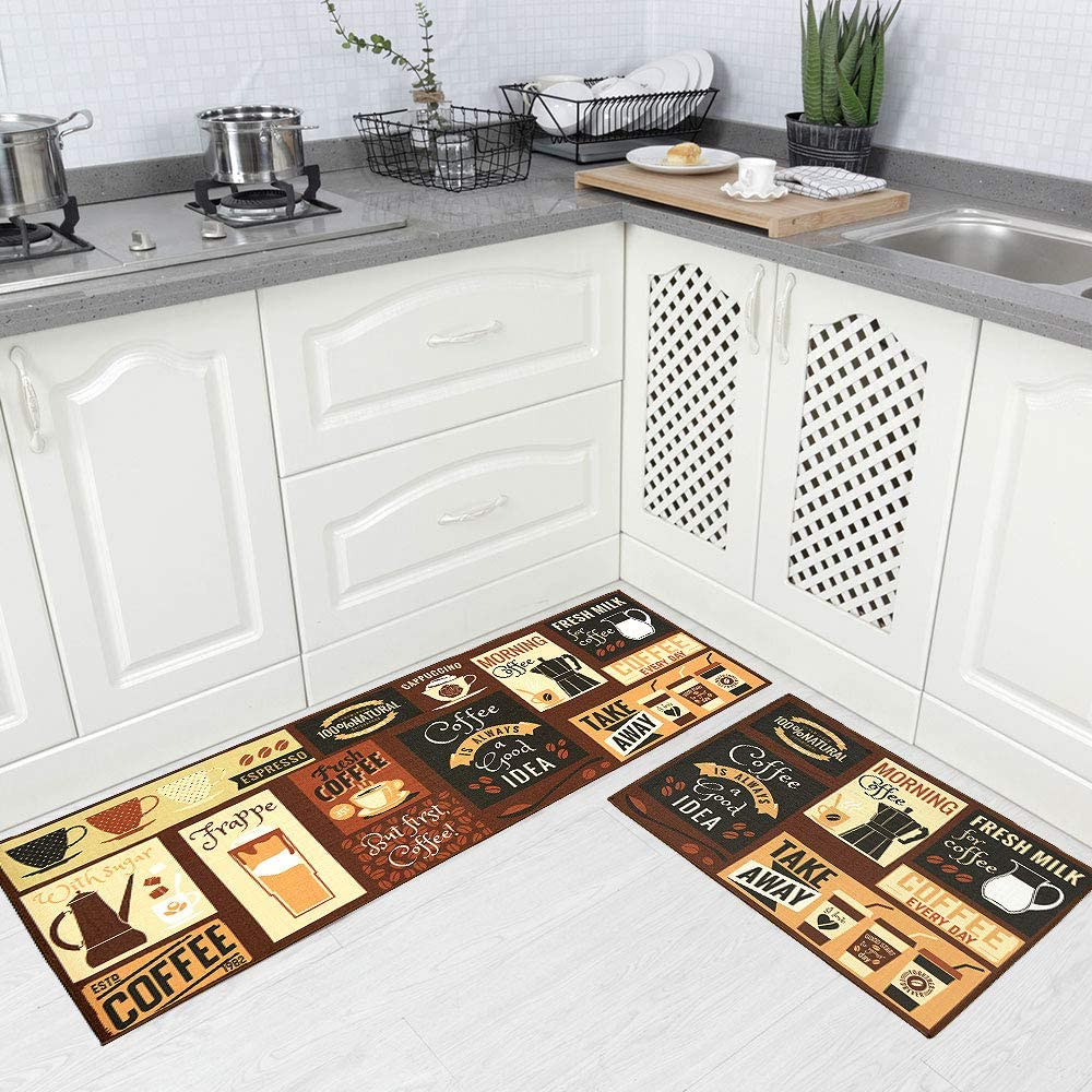 "Carvapet 2 Piece Kitchen Rug Set Non-Slip Backing Mat Throw Rug for Kitchen Doormat Runner Rug Set,Cafe Design (17""x48""+17""x24"")"