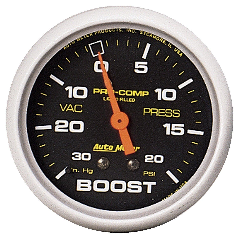Auto Meter 5401 Pro-Comp 2-5/8' 30 in. Hg/20 PSI Liquid Filled Mechanical Vacuum/Boost Gauge