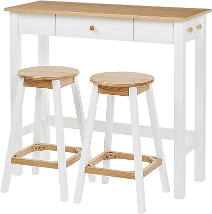 new styles 0f2cf 96ae7 Tesco NEW Breakfast Bar Table & 2 Bar Stool Set (White & Oak)