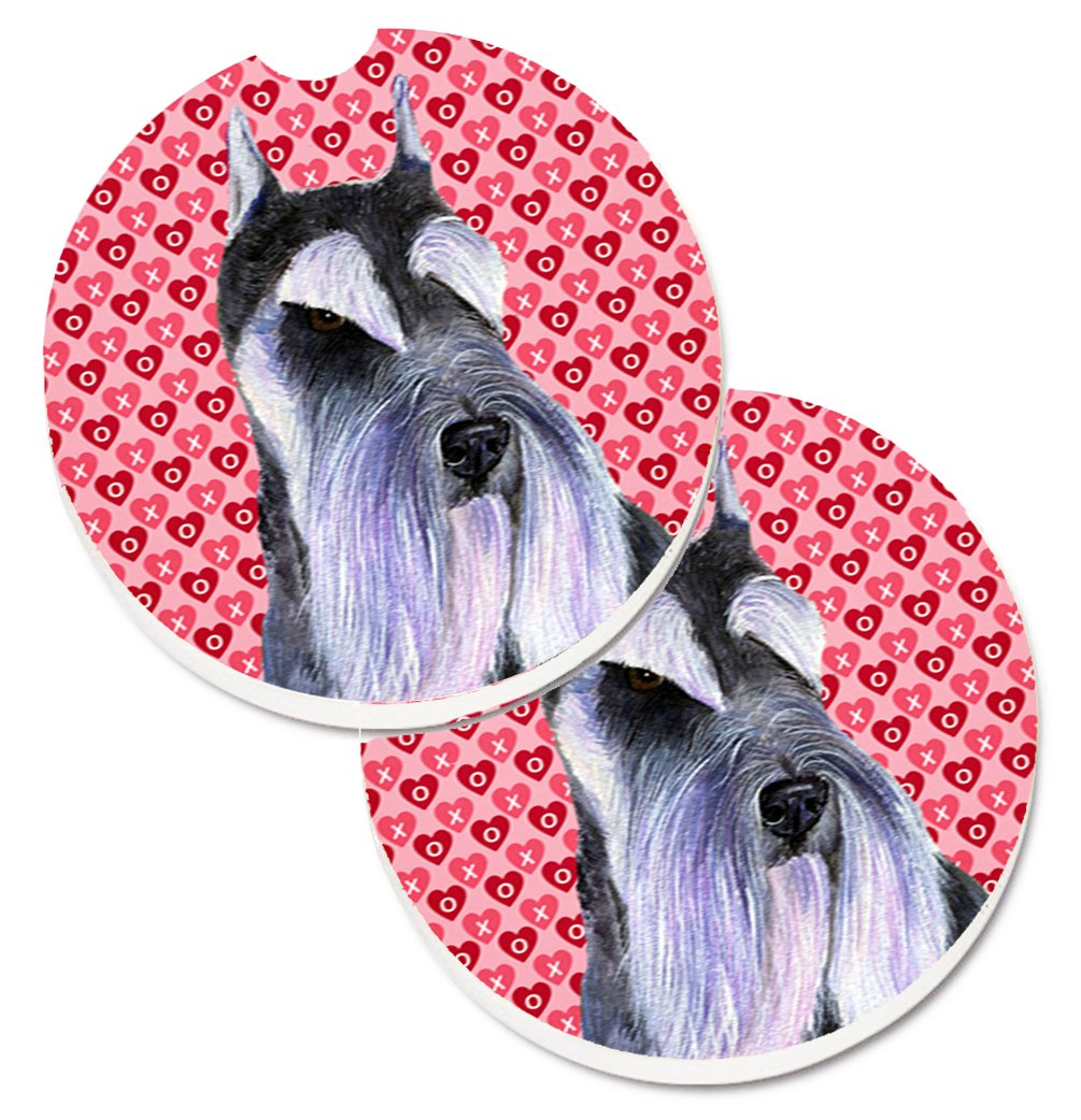 Carolines Treasures Schnauzer Hearts Love /& Valentines Day Portrait Set of 2 Cup Holder Car Coasters SS4477CARC 2.56 Multicolor