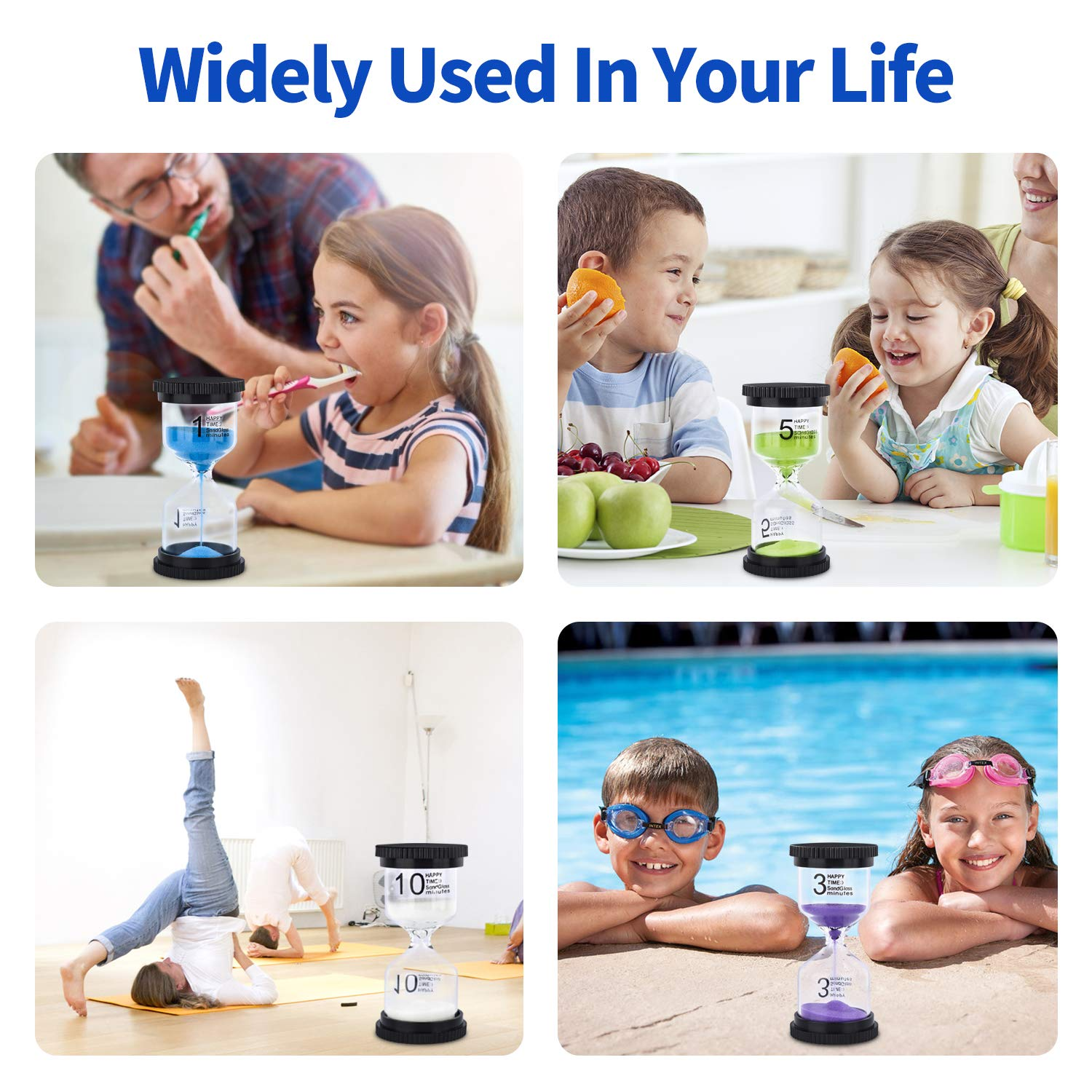 Sand Timer, 4 Colors Hourglass Sandglass Timer Sand Clock 1min/ 3mins/ 5mins/ 10mins for Kids, Games, Toothbrush Timer, Classroom, Kitchen Use, Home Office Decoration