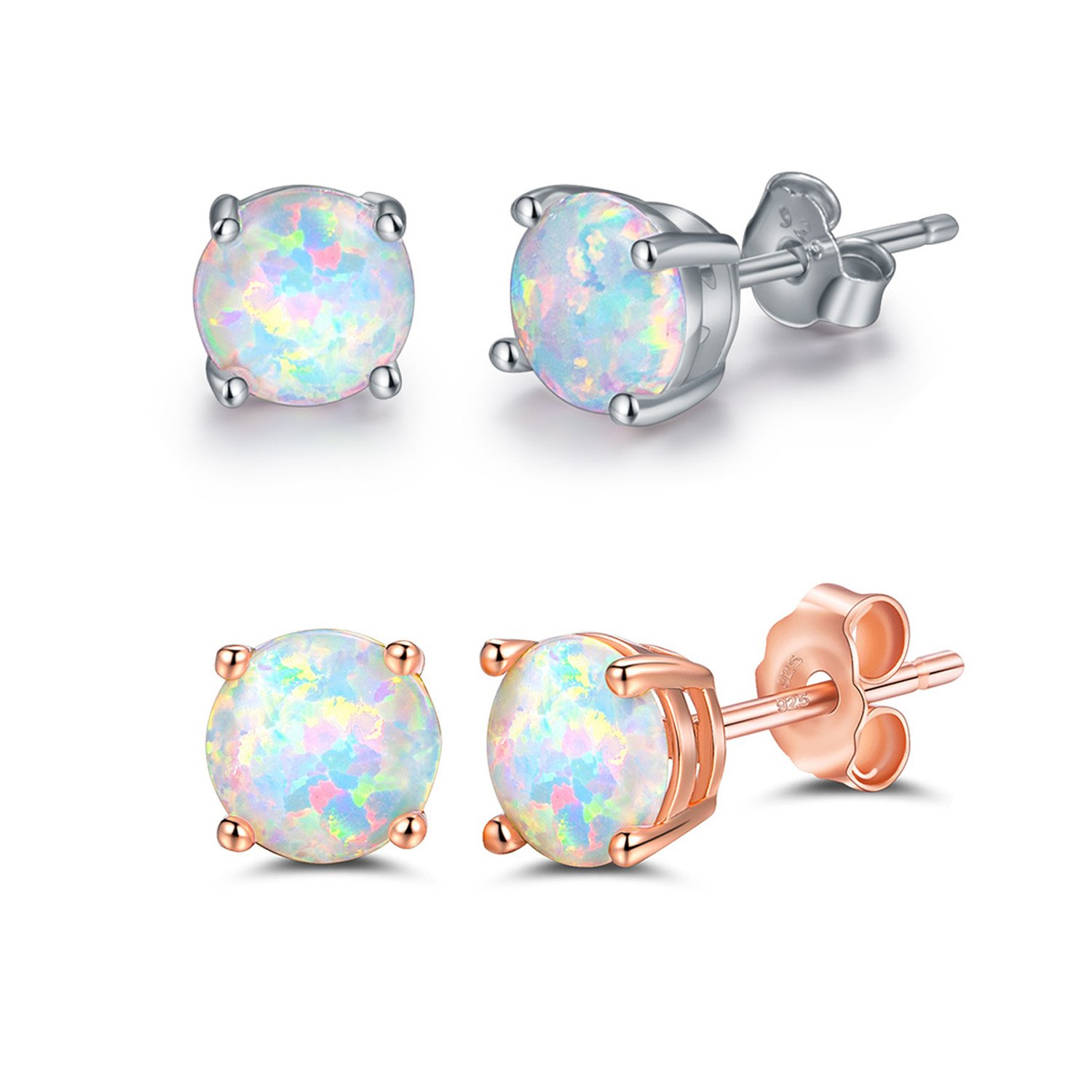 Sterling Silver 18K Rose Gold Plated Opal Stud Earrings 6MM Round For Women Girls