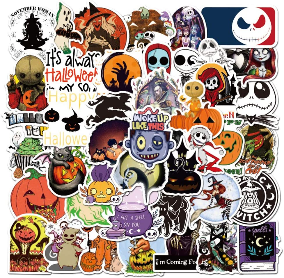 50 Pcs Halloween Theme Stickers| The Nightmare Before Christmas and Tim Burton Waterproof Vinyl Stickers for Water Bottles Laptop Luggage Cup Mobile Phone Skateboard Decals