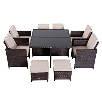 Surprising Outsunny 9Pc Wicker Furniture Outdoor Rattan Dining Set Easy Download Free Architecture Designs Rallybritishbridgeorg