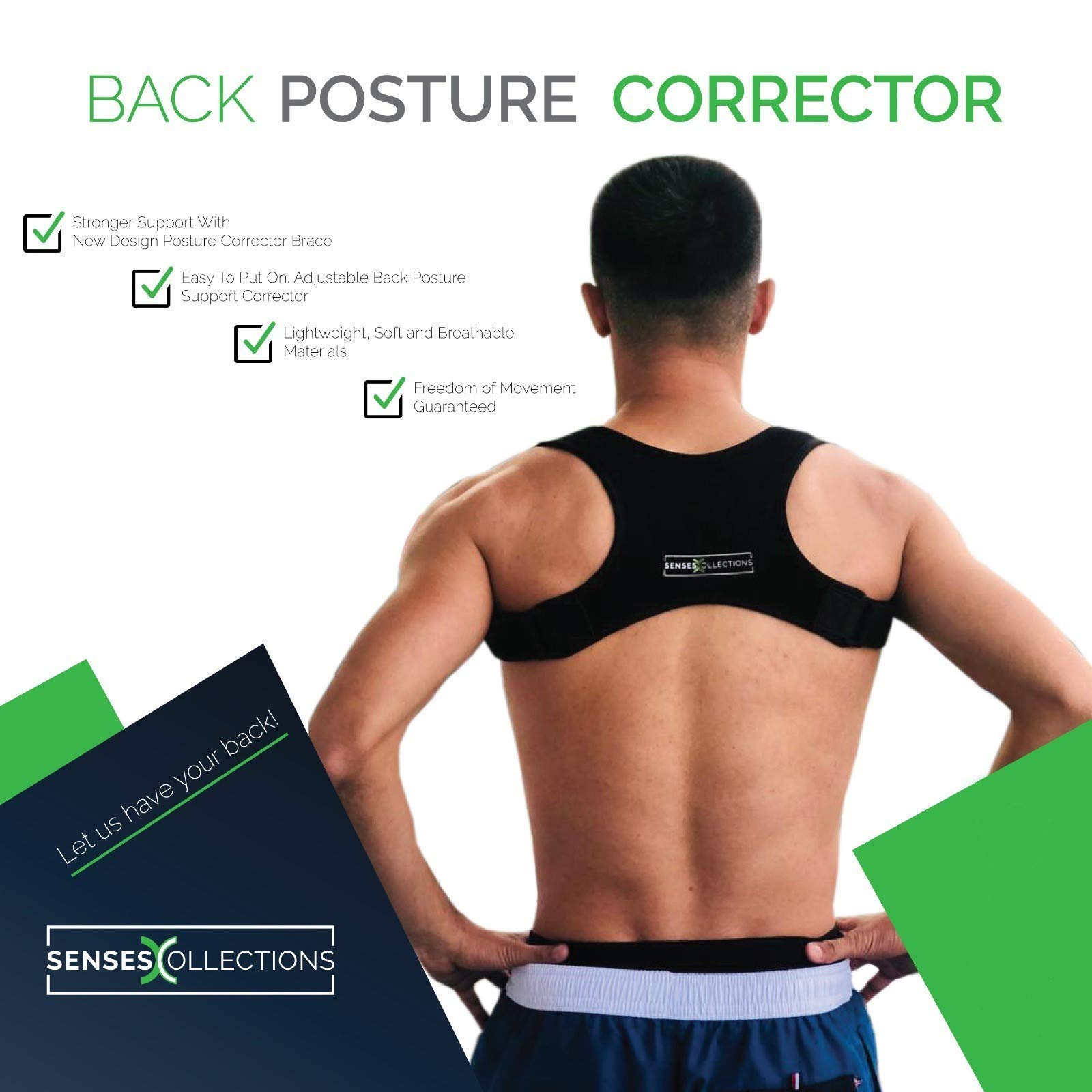 Posture Corrector for Men and Women Discreet Under Clothes Comfortable and Effective Clavicle Brace for Neck Shoulder Back Pain Relief Fully Adjustable Spinal Brace for Slouching FDA Approved by SensesCollections