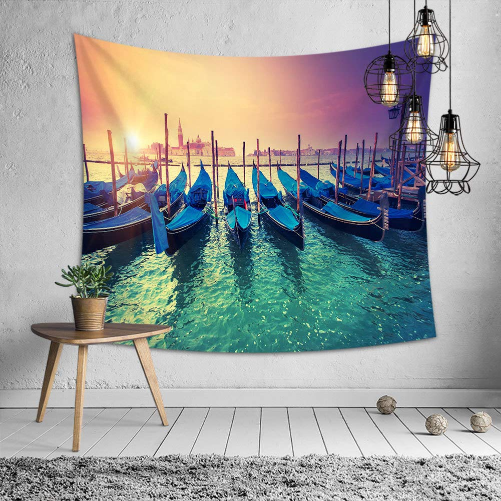 Tapestry Wall Hanging - Wall Tapestry Boat Printed Tapestries Bohemian Mandala Nature Tapestry for Bedroom Living Room Dorm (59'' x 51'')
