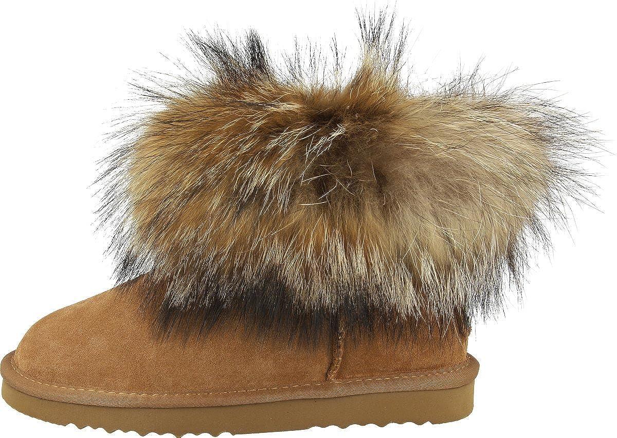 Gefütterte Oog Pelzfur `mini´ Leder Damen Winter Schneestiefel Stiefeletten Mit SchlupfstiefelWarme Boots Waschbär 6gvYbf7y