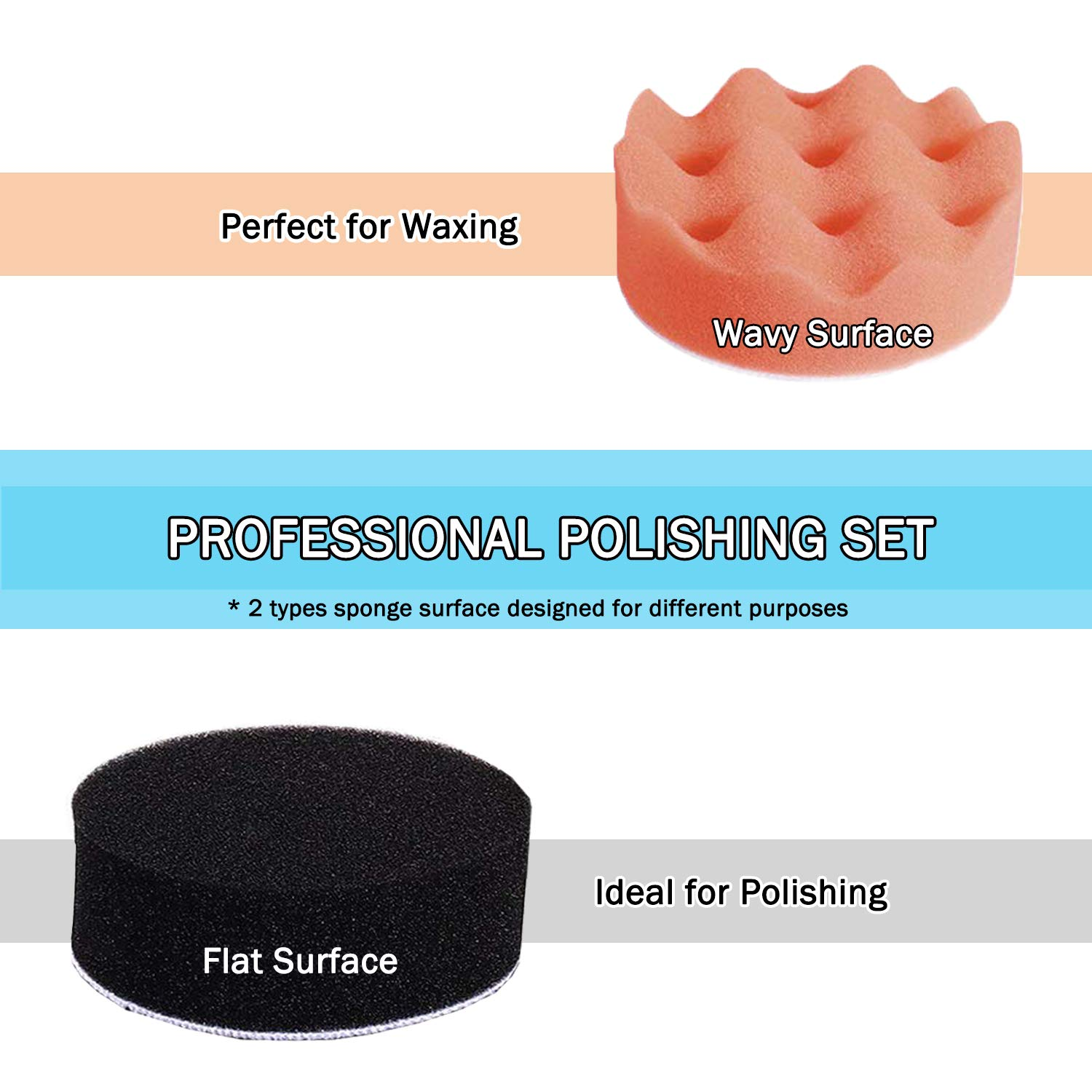 Polishing Pads Sponge Buffing Pads Set Kit 22PCS with M10 Drill Adapter for Auto Car Polishing Waxing and Sealing Glaze Multicolor with Various Hardness Level