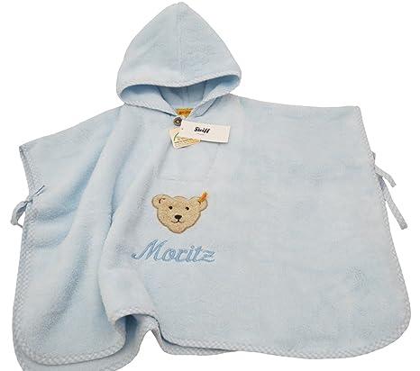 Bebé Poncho albornoz para bebé con forma de nombre bordado colour azul claro Steiff collection