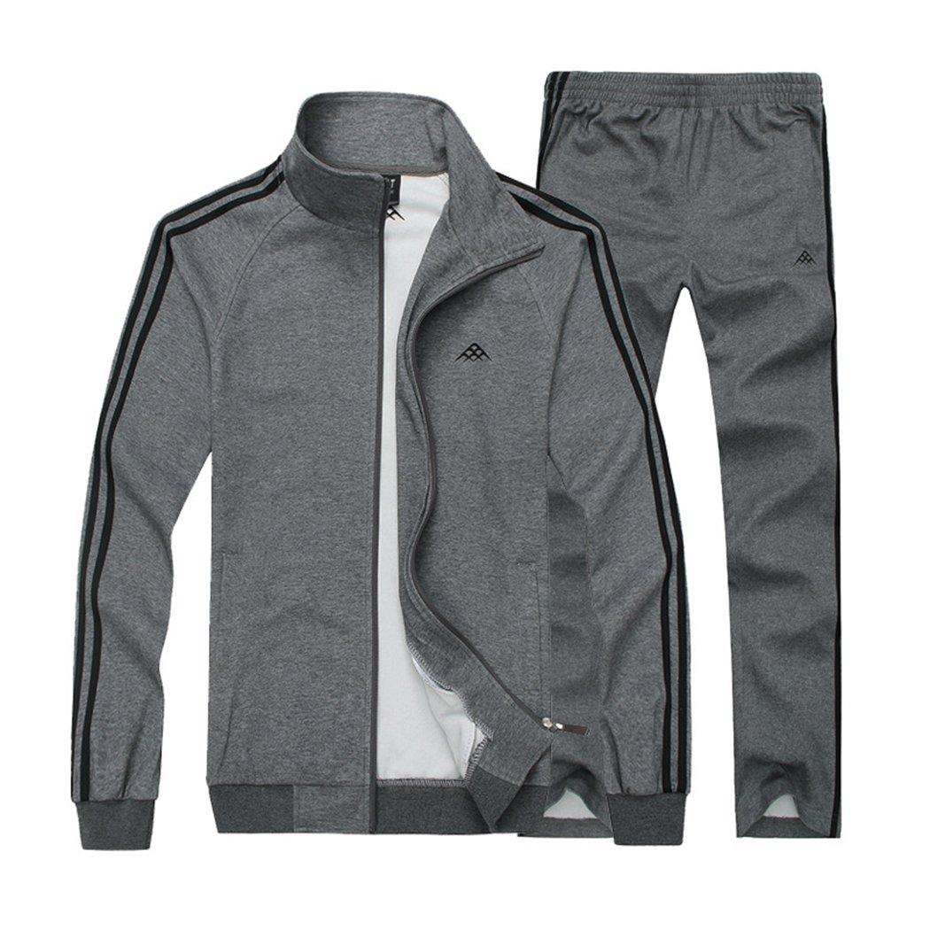 Modern Fantasy Men's Classic Striped Winter Tracksuit Running Joggers Sports Warm Sweatsuit Big Darkgray XXXL
