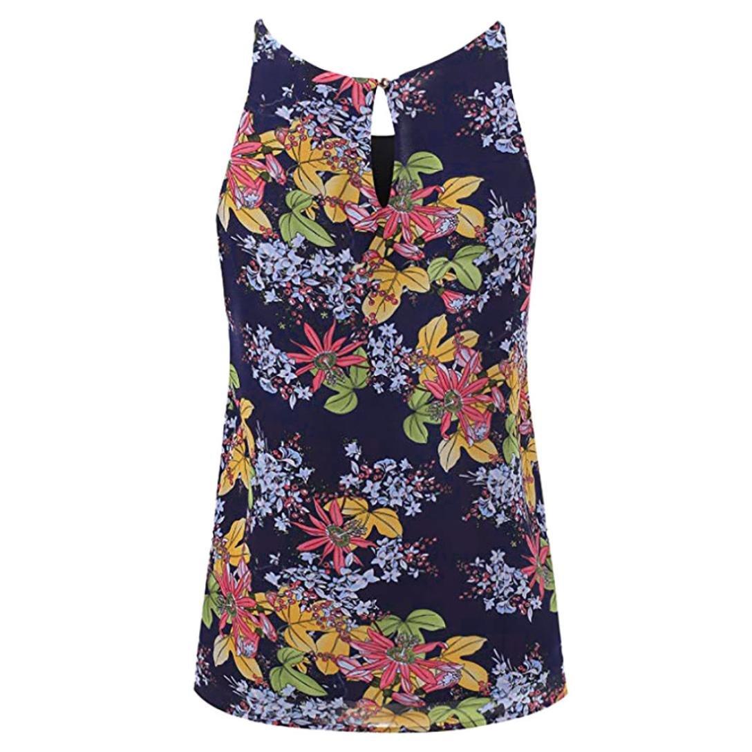 Mujeres Tops Rovinci Verano Floral Vest Top sin Mangas Casual Tank Blusa Tops Camiseta Tops Sexy Elegante 2018 de Verano Mujer Camisas Mujer Elegantes: ...