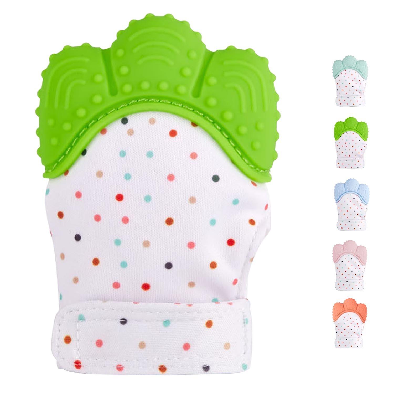Green Teething Toys Baby Boys/&Girls :: Silicone Teething Mitt Teether Gloves BPA Free Self-Soothing Pain Relief Mitt Hombae Teething Mitten for Infants Ideal Hombae Ltd Hombae Teether Mitten