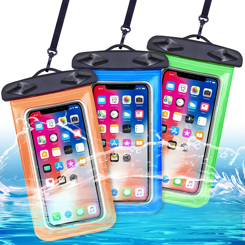 Egchi Waterproof Case 3 Pack Universal Waterproof Phone Pouch Cell Phone Dry Bag for iPhone Series Samsung Galaxy Note HTC LG Sony Nokia - up to 6 inch (Blue&Green&Orange) by Egchi