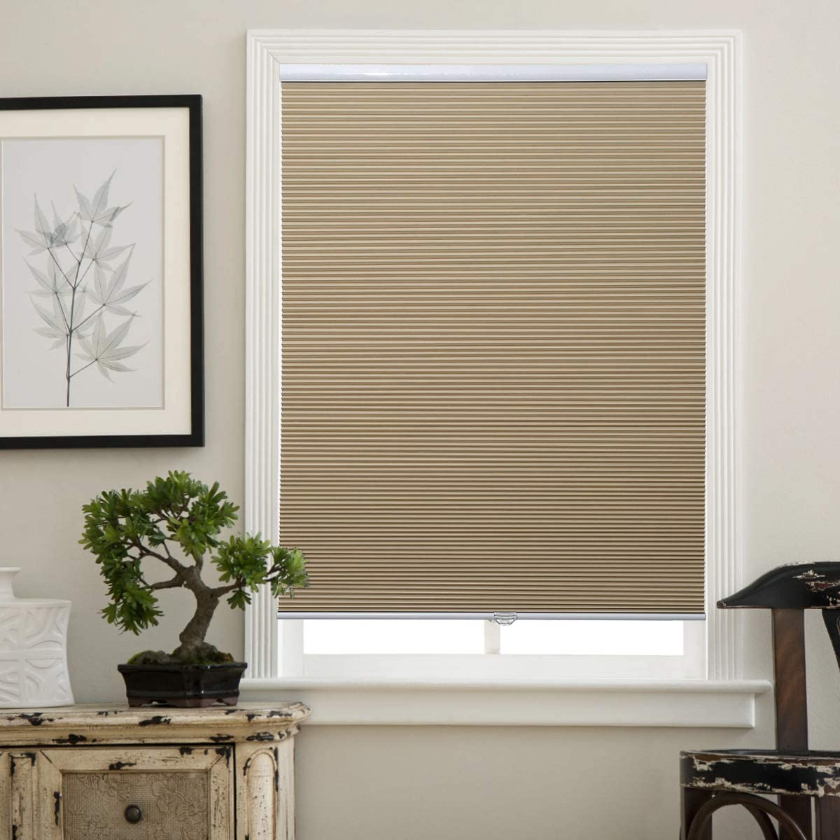 Matinss Cellular Shades Cordless Window Blinds Honeycomb Shades for Home and Windows Bedroom, Blackout Shades, Beige-White, 23x64