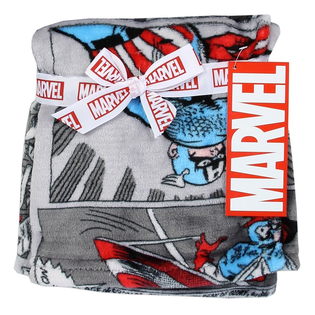 Avengers 30'' x 30'' Soft Flannel Fleece Baby Blanket, Marvel Avengers Blankets for Little Boys, Captain America Comics Designed Blanket