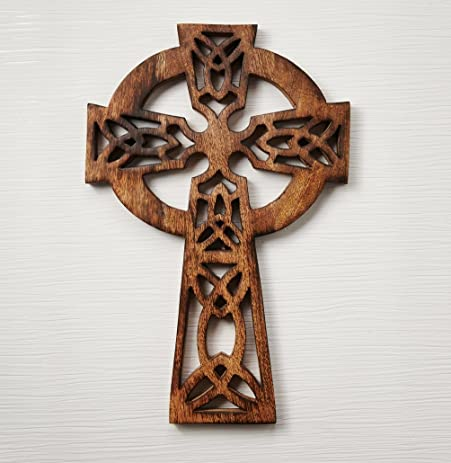 Valentine Gifts Wooden Cross With Handmade Floral Carving French