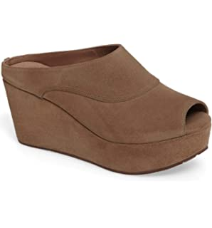 dbbcfd4f5796a Chocolat Blu Wind Wedge - Platform Mule Sandal - Women's Suede Shoes Taupe  Suede 8 M