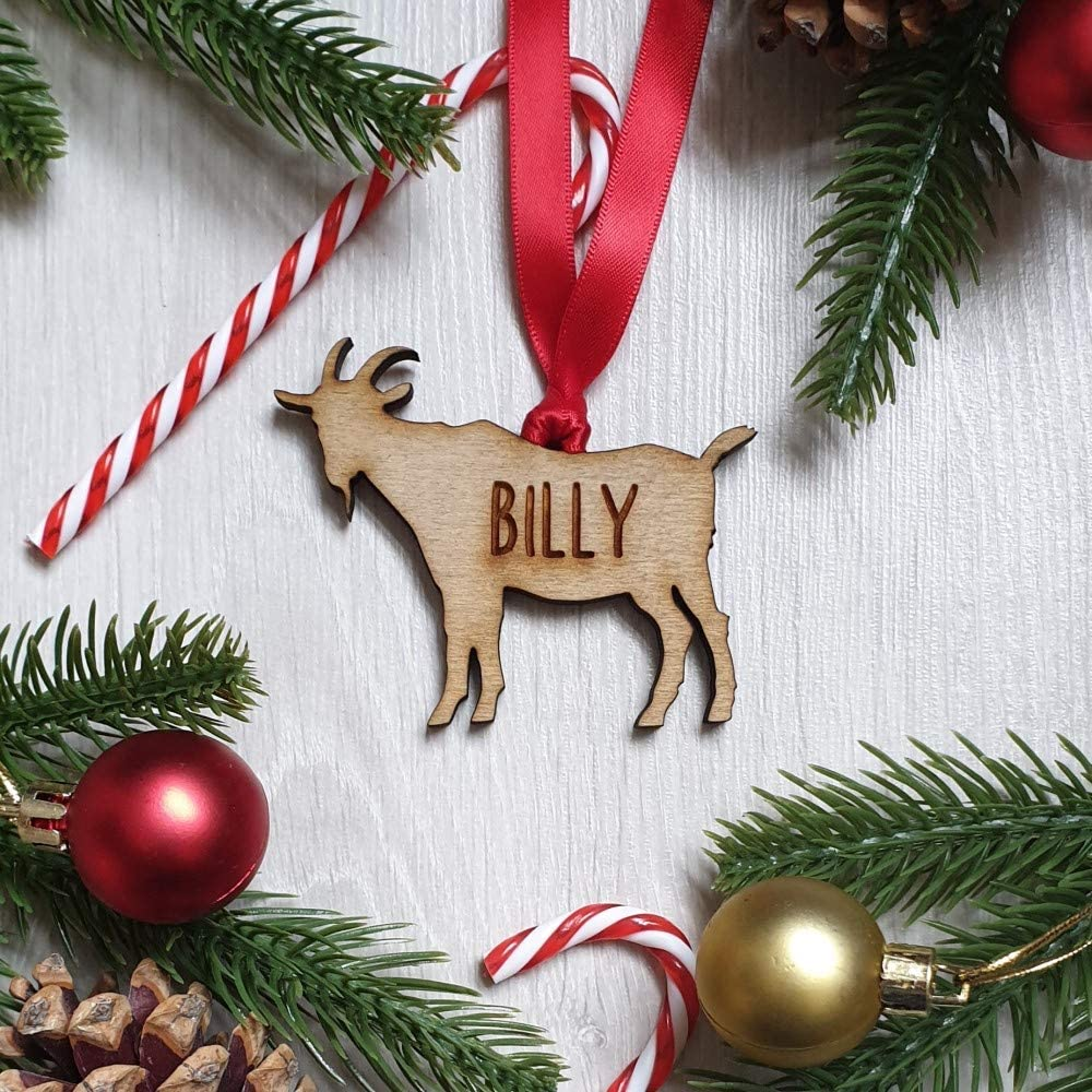 Goat Wooden Christmas Tree Decoration Bauble My Pretty Little Gifts Personalised Animal Bauble