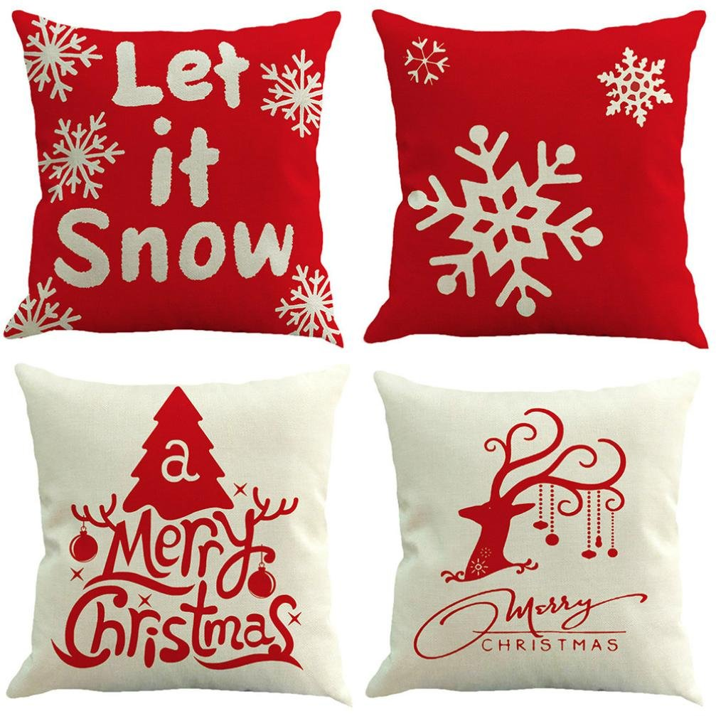 4 Packs Christmas Pillowcases KANZER Xmas Deer Snowflakes Pillow Covers Sofa Waist Throw Cushion Cover 18x18''