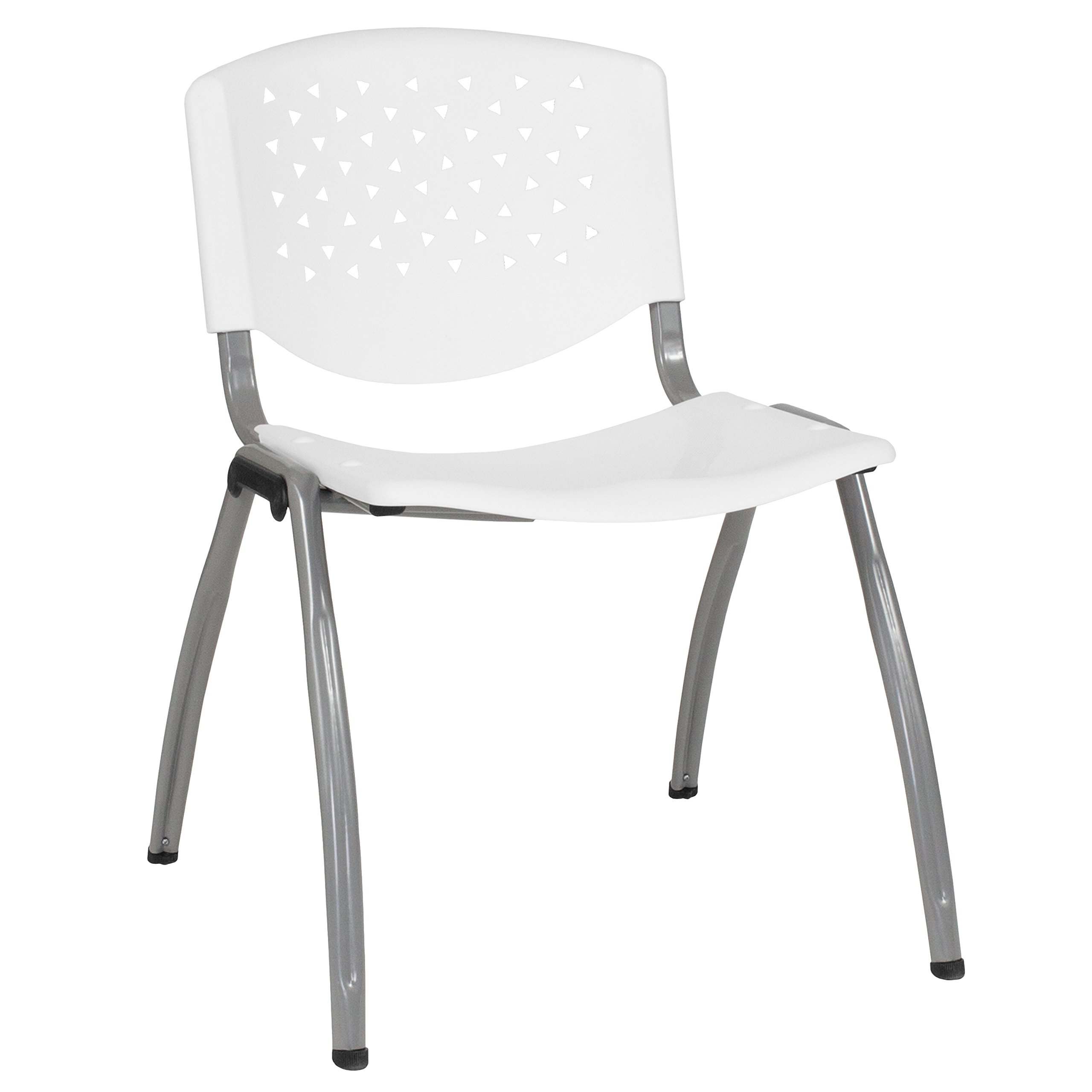 Flash Furniture RUT-F01A-WH-GG White Plastic Stack Chairs, 1 Pack,