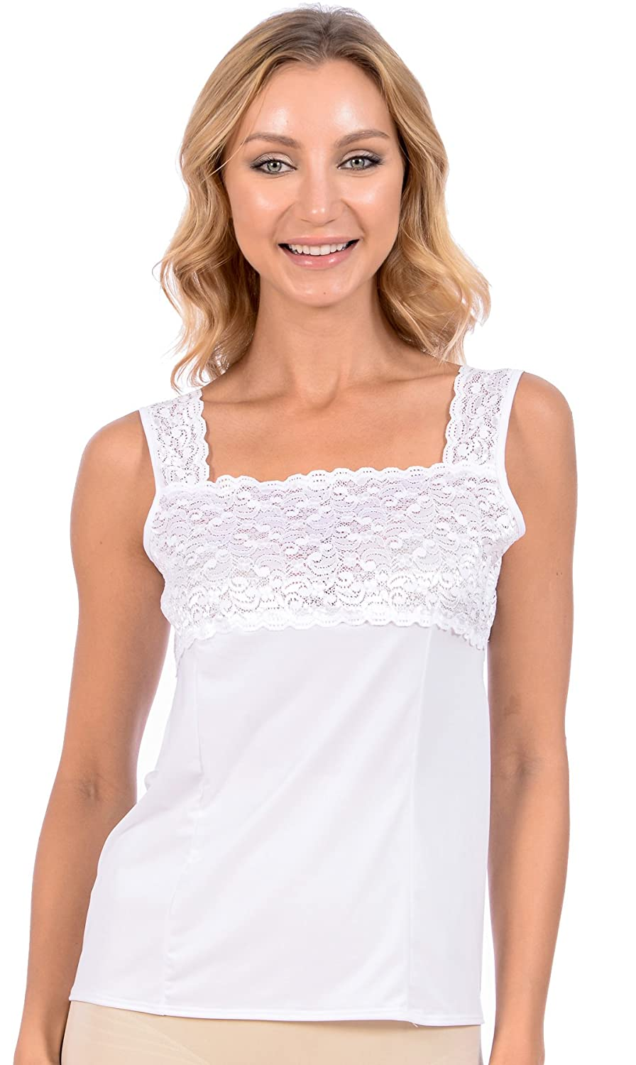 Womens Patricia Lingerie Luminesse Stretch Fabric Lace Detail Square Neck Camisole CKC_PLC_5197