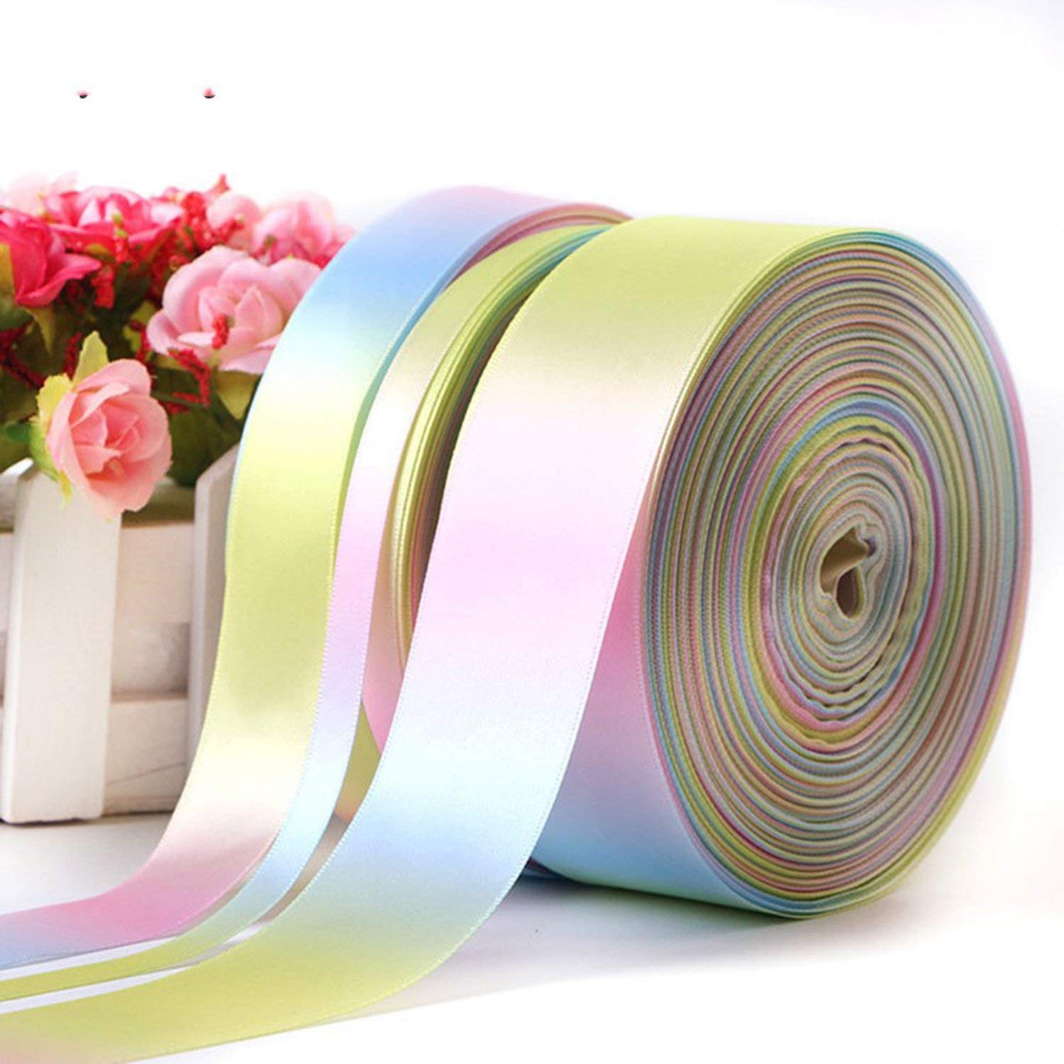 Party Streamers Rainbow Ribbon Printed Polyester Satin Ribbons Handmade Materials,50mm by AYO-LE streamers (Image #2)