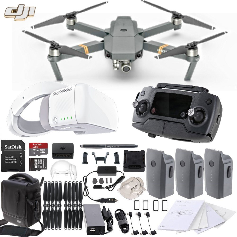 DJI Mavic Pro Collapsible Drone FLY MORE Combo with DJI Goggles FPV Headset & eDig Bundle