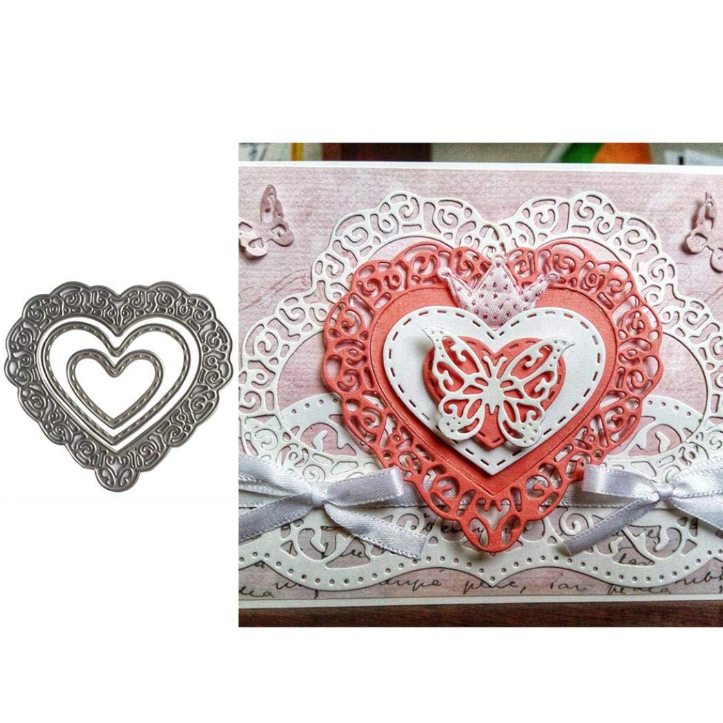 2020 New Die Cuts,dezirZJjx Heart Frame Metal Cutting Dies DIY Scrapbook Paper Cards Photo Stencil Mold Silver
