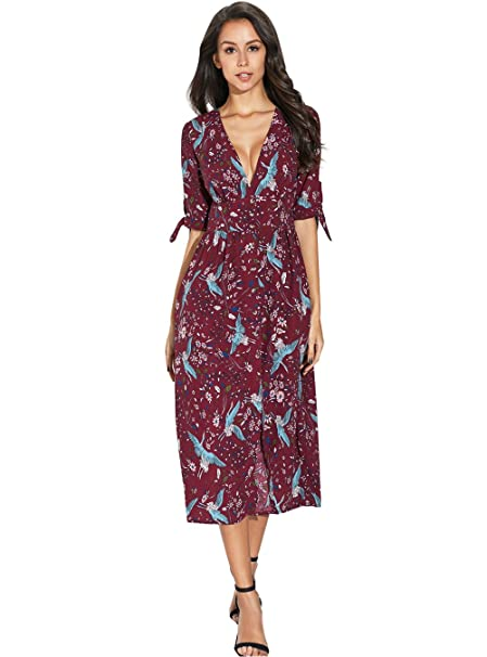 48839c93fef0 Image Unavailable. Image not available for. Color: PYL Womens Summer Casual  Short Sleeve V Neck Slit Sexy Floral Midi Dress