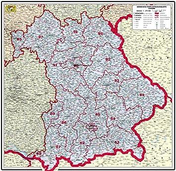 Bundesländer Karte Mit Plz.Amazon De Xxl Bundesländerkarte Bayern Mit Postleitzahlen