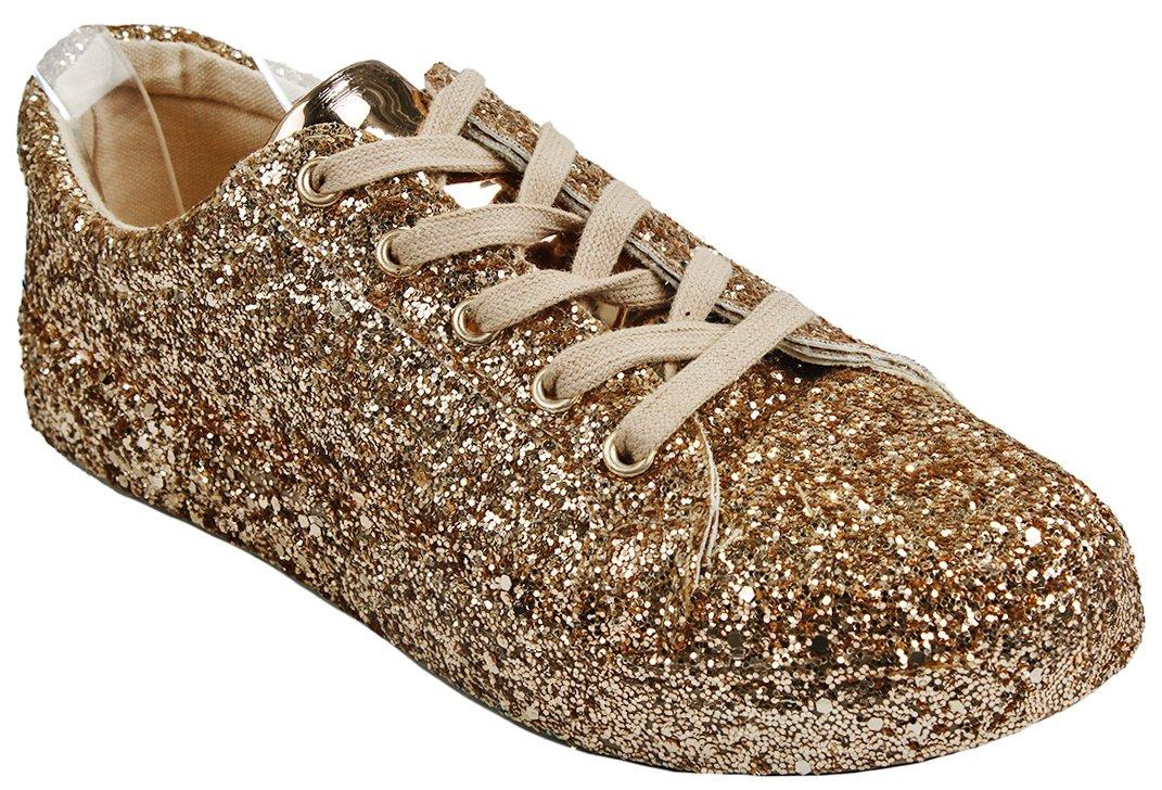 Women Fashion Metallic Sequins Glitter Lace up Light Weight Stylish Sneaker Shoes B076LBSTXZ 7.5 B(M) US Rosegold_g7