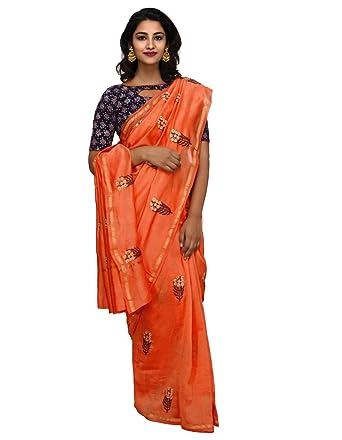 3c5991994a8 Unnati Silks Women Orange Embroidered Pure Chanderi Saree With Blouse from  the Weavers of Madhya Pradesh