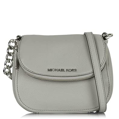 e05c93d0ef89 Michael Kors Silver Leather Bedford Flap Crossbody Bag Silver Leather