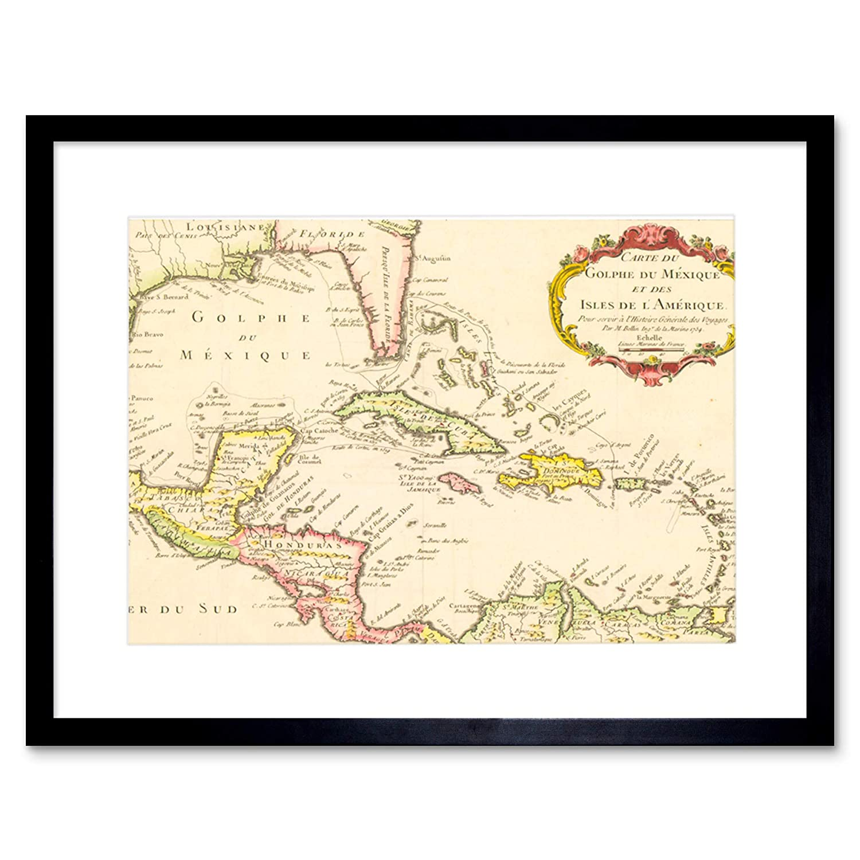 Carte Cuba Amerique.Map Gulf Mexico Caribbean Sea Central America Cuba 1754 France Print