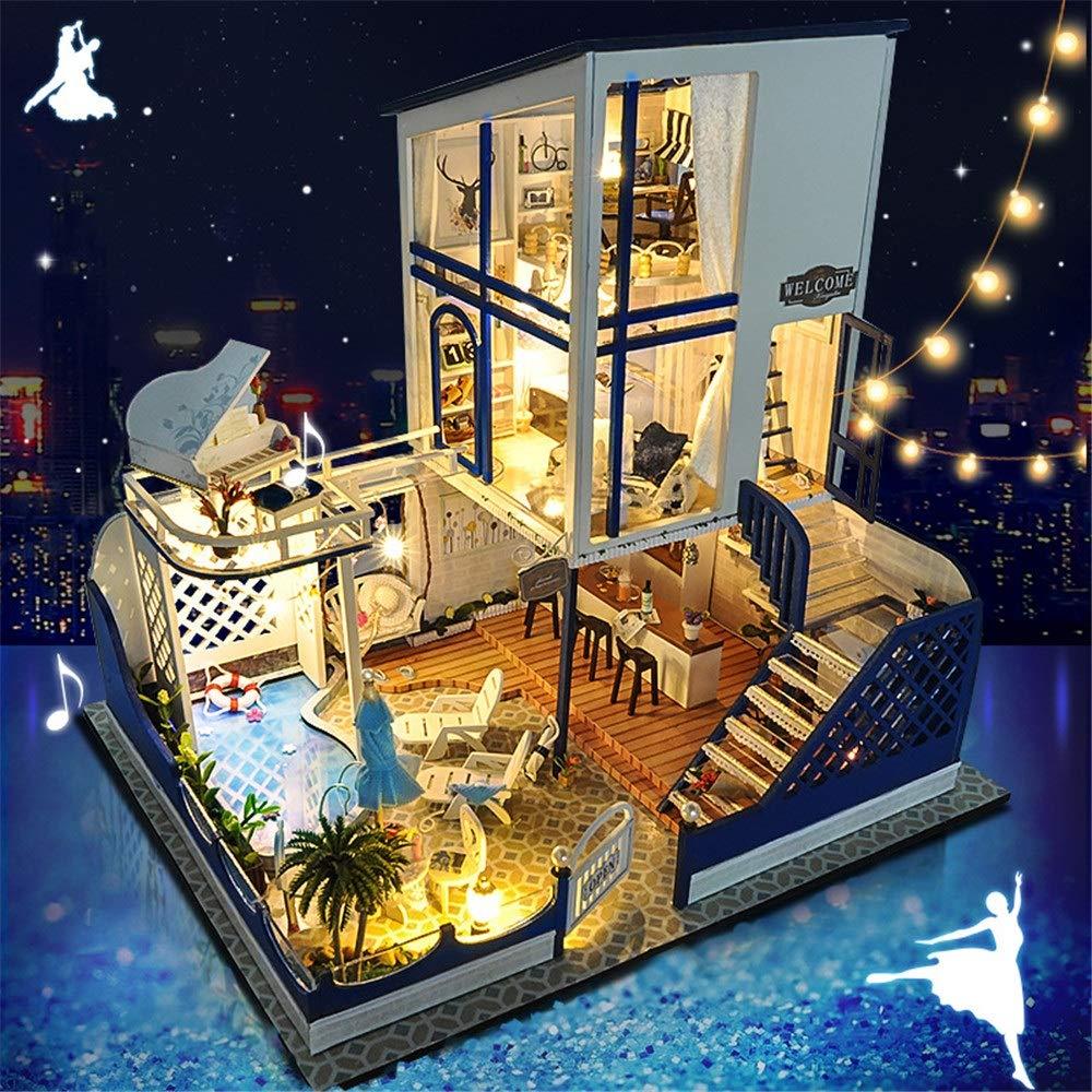 creativa bricolaje 3d mini casa Creativos Hechos a mano Modelo Mediterráneo Romántico Día de San Valentín Miniatura 3D Kits de artesanía de invernadero para adultos - Casa de muñecas de madera con mue