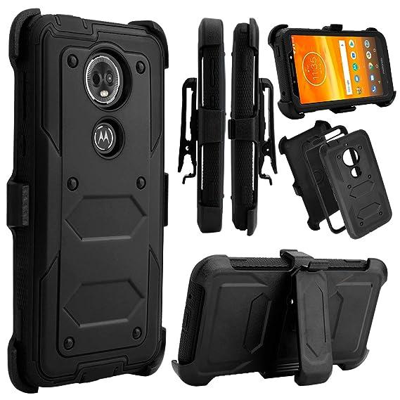 Moto E5 Plus Case, Moto E5 Supra Case, Venoro Heavy Duty Shockproof Full Body Protection Rugged Case Cover Swivel Belt Clip Kickstand Motorola Moto E5 Plus/Moto E5 Supra (Black) by Venoro