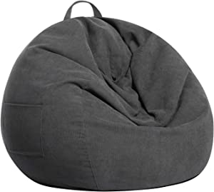 SANMADROLA Stuffed Animal Storage Bean Bag Chair Cover (No Beans) for Kids and Adults.Soft Premium Corduroy Stuffable Beanbag for Organizing Children Plush Toys or Memory Foam Small 100L (Dark Grey)