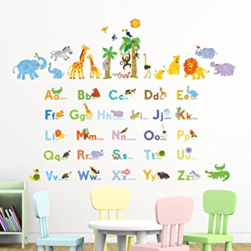 Decowall Animal Alphabet Nursery Kids Removable Wall Stickers Decal DW-1206P1308