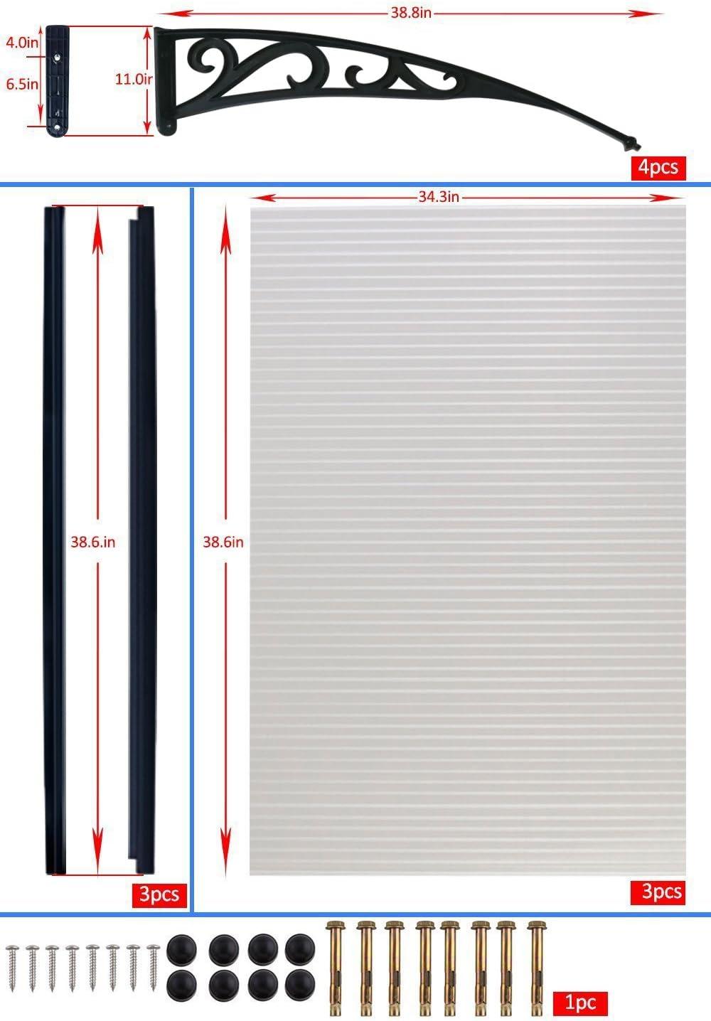 Dripex Vordach Pultbogenvordach /Überdachung Polycarbonat Transparentes 120*75cm Schwarz