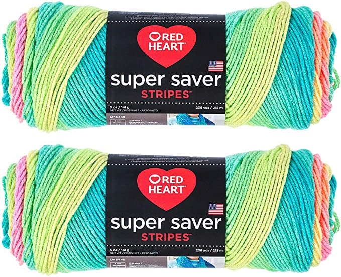 Red Heart Super Saver Yarn E300 5 Oz Skein 4 Ply Worsted Parrot Stripe 4968