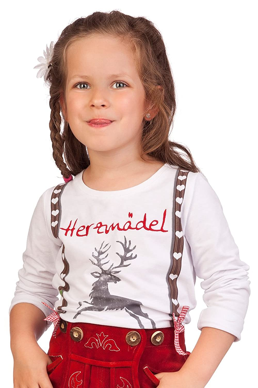 Kinder Trachten Fun Shirt - HERZMÄDEL - weiß